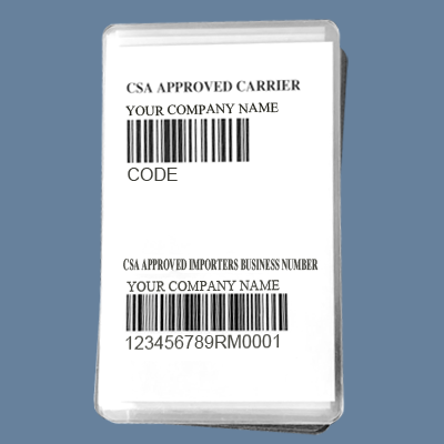 CSA Lead Sheet card - With Importer Number